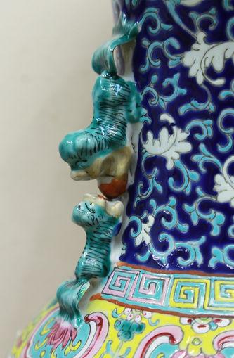 """Арт-студия """"Кентавр"""" - Парные вазы с изображением цветов и ручками в виде тритонов №015092"""