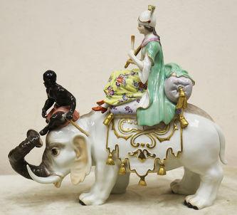 """Арт-студия """"Кентавр"""" - Старинная статуэтка """"Персиянка на слоне"""" (аллегория Азии) №015118"""