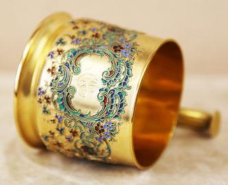"""Арт-студия """"Кентавр"""" - Подстаканник с цветочным декором из расписной эмали №015191"""