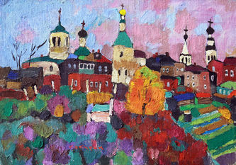 "Арт-студия ""Кентавр"" - ""Пейзаж с церквями"" №015382"