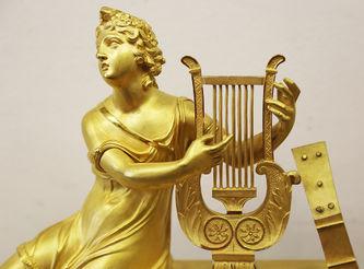 """Арт-студия """"Кентавр"""" - Старинные каминные часы «Аполлон, играющий на лире» в стиле ампир №015384"""