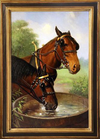 """Арт-студия """"Кентавр"""" - Фокс Роберт Аткинсон (1860-1935) - """"Две лошади в упряжке на водопое"""" №004844"""