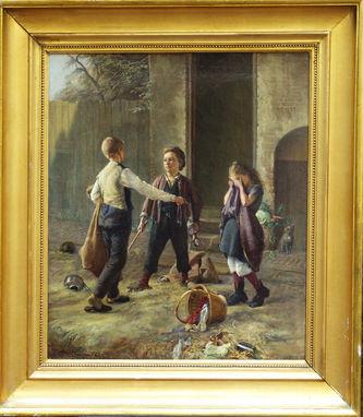 """Антиквариат.ру - Хеннингсен Прам (1846-1892) - """"Предостерегающий мальчик. Жанровая  сцена с детьми"""" 1872г №004857"""