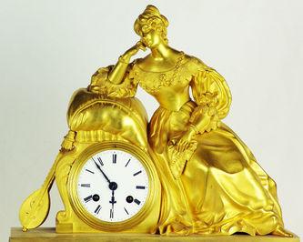 """Арт-студия """"Кентавр"""" -  Часы каминные с боем """"Дама с мандолиной"""" №005296"""