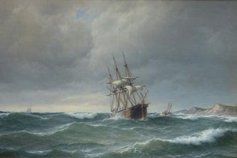 """Арт-студия """"Кентавр"""" - """"Трехмачтовый корабль у побережья в штормовую погоду"""" №006999"""