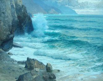 """Арт-студия """"Кентавр"""" - Беме Карл Теодор (1866-1939) - """"Близ морского залива Ла Специа в Италии""""  №007642"""