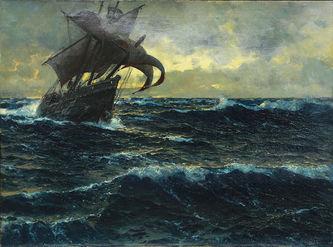 """Арт-студия """"Кентавр"""" - Димер Михаэль Цено (1867-1939) - """"Морской пейзаж с парусником"""" №007953"""