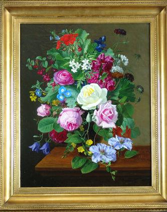 "Арт-студия ""Кентавр"" - Оттесен Отто Дидрик (1816 -1892) - ""Натюрморт с цветами"" 1877г №009165"