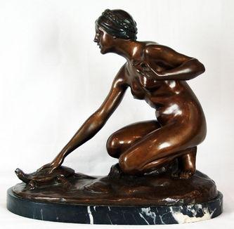 """Арт-студия """"Кентавр"""" - Скульптура бронзовая """"Девушка  с черепахой"""" №009321"""